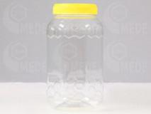 Műanyag mézes flakon 1000g szögletes