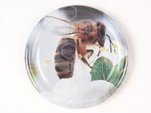 Viečko plechové šedé+včela 66mm