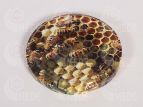 Viecko plechové hnedé + včela 82mm