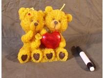 Két medve szívvel gyertya
