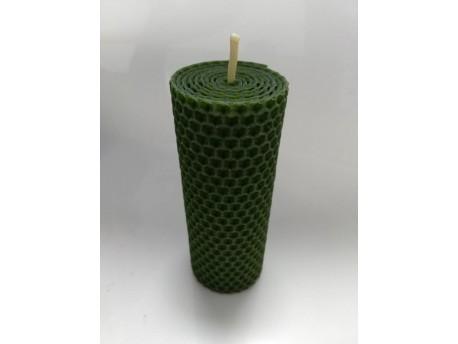 Sviečka vinutá valček 120 x 45 zelená