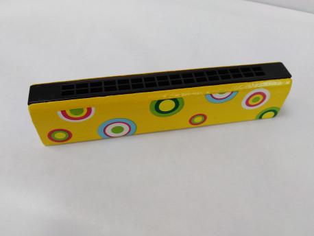 Harmonika žltá s farebnými kruhmi