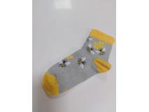Ponožky dámske, sivé, motív včela