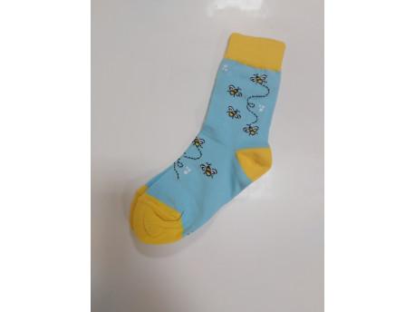 Gyerek zokni, kék, méh minta