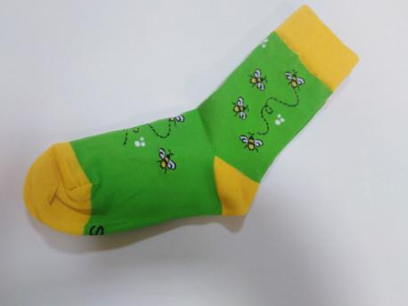 Gyerek zokni, zöld, méh minta
