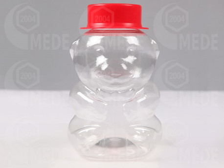 Plastový macík s klobúkom na 350g medu