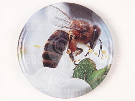 Viečko šedé+včela 63mm plechové