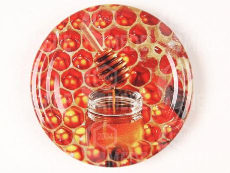 Viečko červené+med 66mm plechové