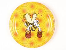 Viečko plechové žlté+včela s džbánmi 82mm