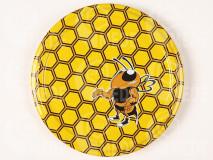 Viečko plechové žlté+silná včela 82mm