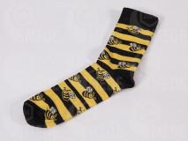Ponožky prúžkované, motív včela