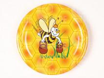 Viečko plechové včela s džbánmi+tráva 82mm