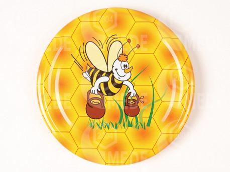 Viečko včela s džbánmi+tráva 82mm plechové