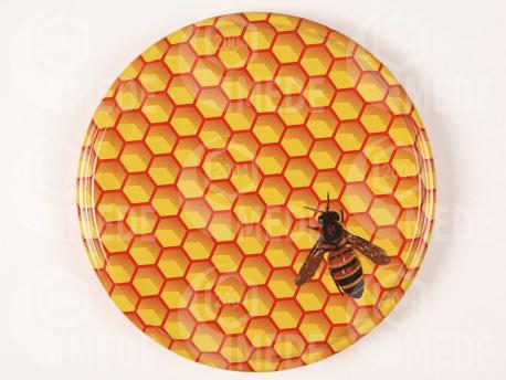 Viečko oranž+plást+včela 66mm plechové