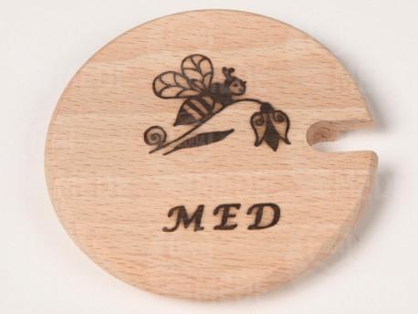 """Viečko drevené na med 8,5cm """"MED"""""""