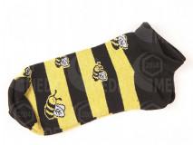 Ponožky prúžkované, členkové, motív včela
