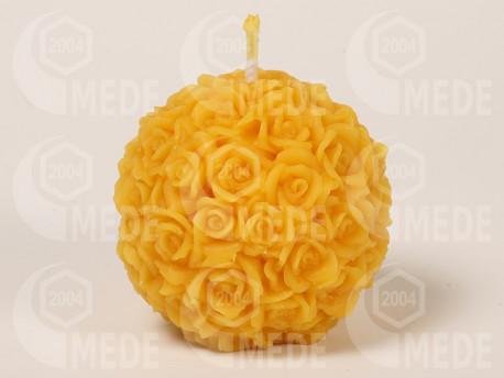 Sviečka ruže v guli z včelieho vosku