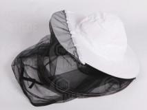 Včelársky klobúk biely s dlhým čiernym tylom
